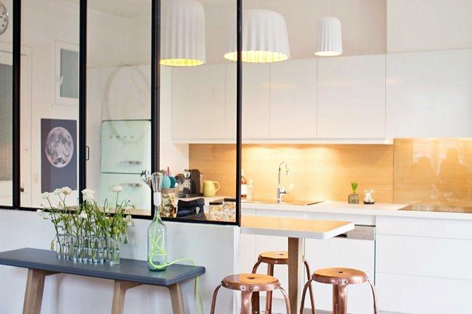 Verri re d 39 atelier une tendance lumineuse - Verriere coulissante pour cuisine ...